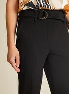 Pantalon ceinturé à jambe étroite , Noir