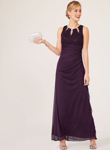 Lace Bodice Mesh Dress, Purple, hi-res