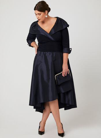 High Low Jersey Taffeta Dress, Blue, hi-res