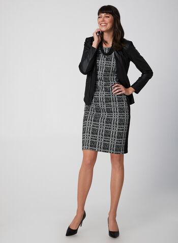 Plaid Print Dress, Black, hi-res,  fall winter 2019, plaid print, sheath