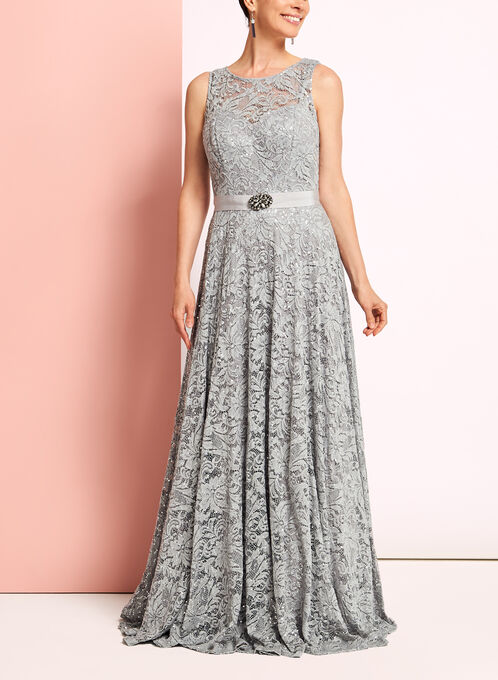 Sequin Lace Fit & Flare Gown, Silver, hi-res