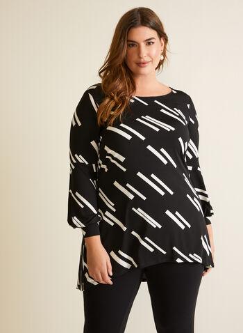 Geometric Print Tunic, Black,  top, tunic, geometric print, high low, fall winter 2020