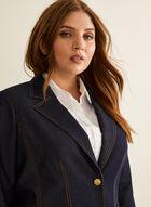 Two Button Denim Suit Jacket , Blue
