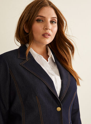 Two Button Denim Suit Jacket , Blue,  Spring Summer 2020, jacket, suit, denim, long sleeves, stitching. buttons