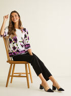 Floral Print 3/4 Sleeve Top, White