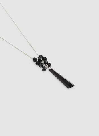 Stone Pendant Necklace, Black,  beaded necklace, rod pendant