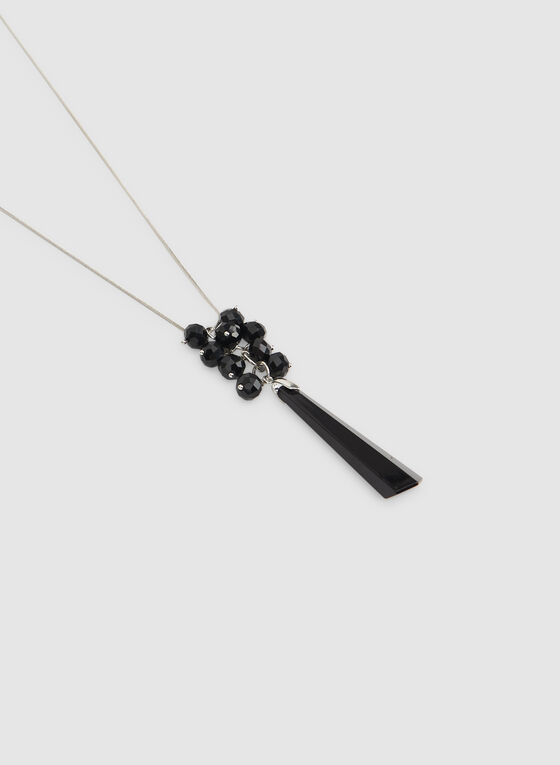 Collier à pierre allongée, Noir, hi-res