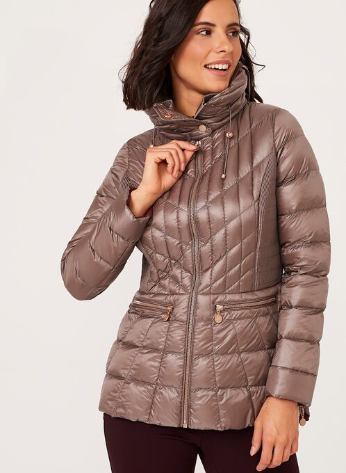 B by Bernardo - PrimaLoft® Down Filled Packable Coat, Brown, hi-res