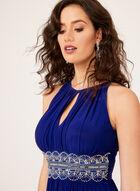 Beaded Belt Embellished Dress, Blue, hi-res