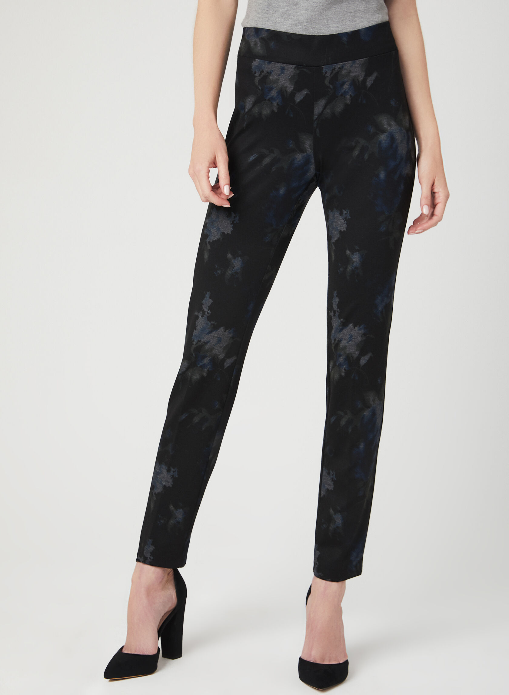 Floral Print Pull-On Pants