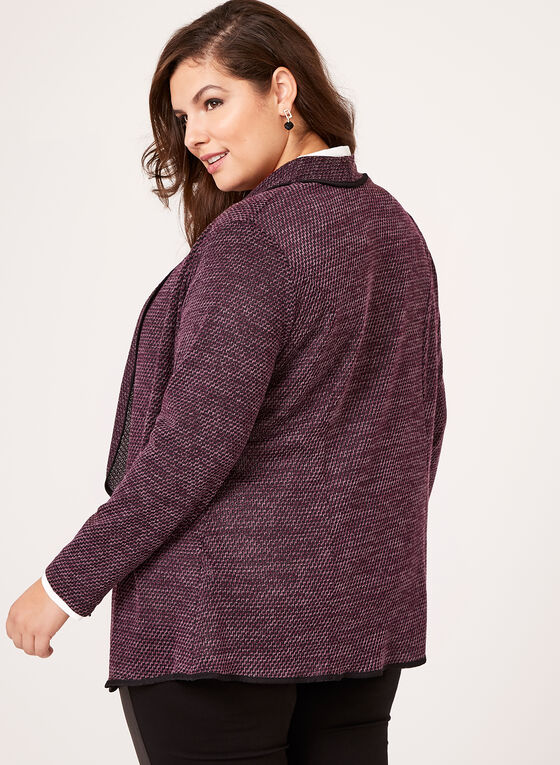Open Front Knit Cardigan, Purple, hi-res