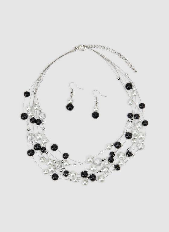 Short Pearl Earrings Necklace Set, Black, hi-res