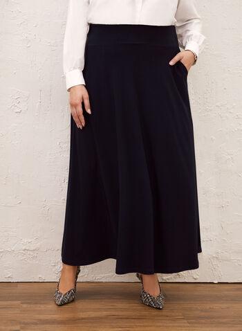 Pull-On Maxi Skirt, Blue,  skirt, pull-on, maxi, pockets, fall winter 2020