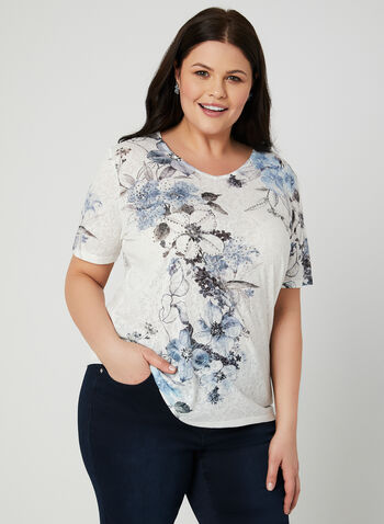 Floral Print Lace Back T-Shirt, Blue, hi-res,  embellished, short sleeves, lace, spring 2019
