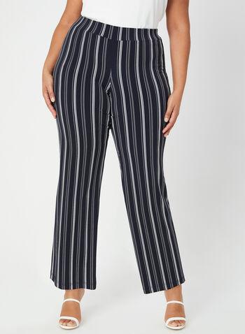 Stripe Print Wide Leg Pants, Blue, hi-res,  wide leg, pull-on, stripe print, fall 2019, winter 2019, plus, petites