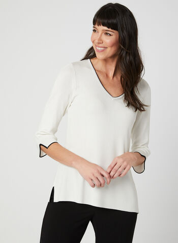 ¾ Sleeve Sweater, White, hi-res,  sweater, short sleeves