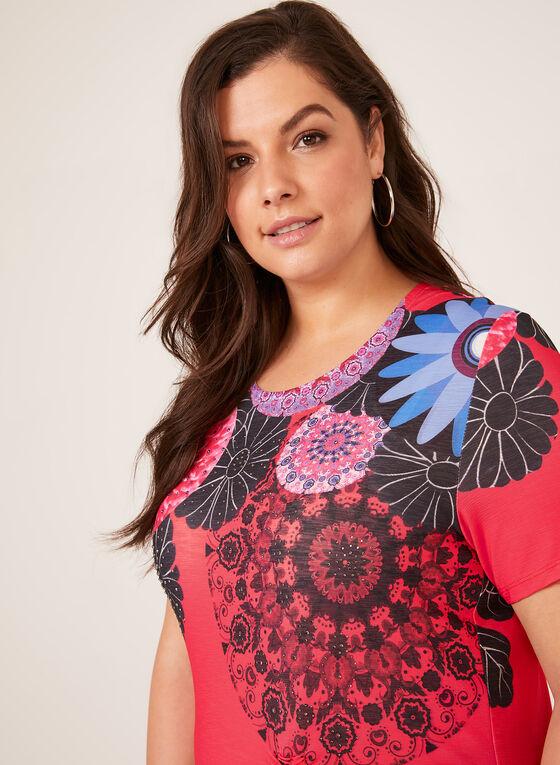 T-shirt fleuri à manches courtes et strass, Rouge