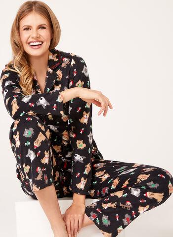 René Rofé - Dog Print Fleece Pajama Set, Black, hi-res