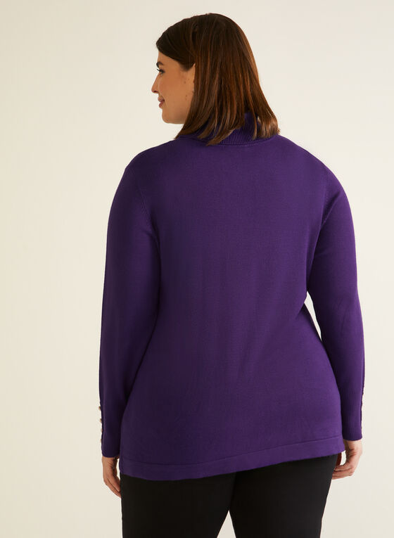 Turtleneck Sweater With Button Details, Purple