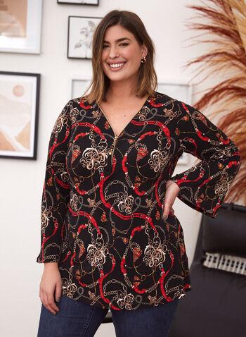 Chain Print Tunic, Black,  made in Canada, top, blouse, tunic, v neck, zipper, tassel, long sleeves, chain print, fall winter 2021