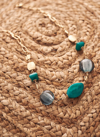 Short Stone Necklace, Blue,  spring summer 2021, accessory, accessories, jewelry, jewellery, beads, stones, gold metal,
