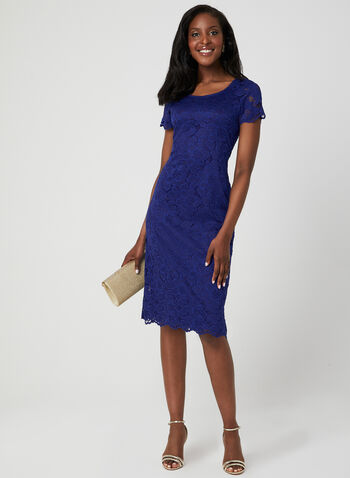 Floral Lace Midi Dress, Blue,  lace, short sleeves, scalloped, scoop neck