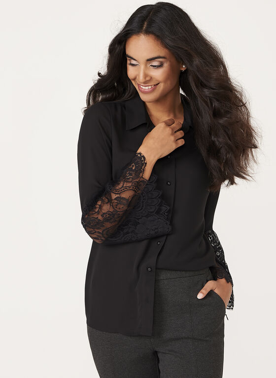 Lace Bell Sleeve Crepe Blouse, Black, hi-res