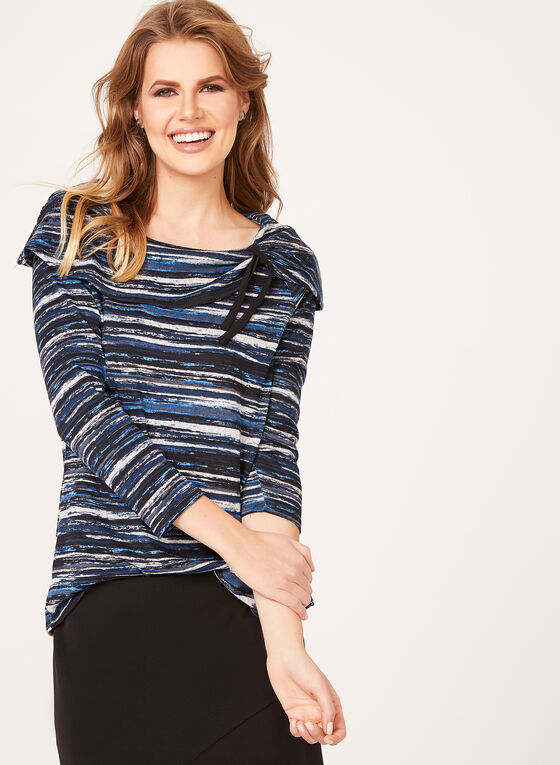 Fold Over Neck Sweater , Black, hi-res