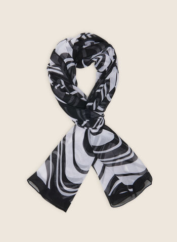 Foulard léger motif vague, Noir,  foulard, léger, vague, mousseline, printemps été 2020
