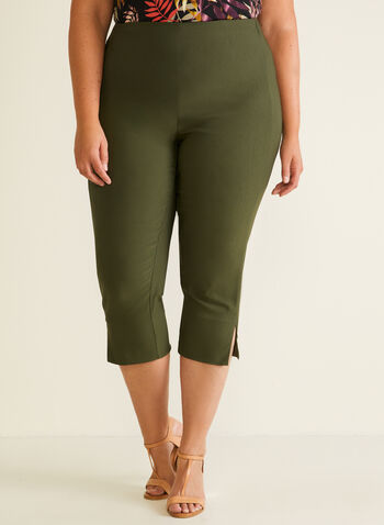 Slit Hem Pull-On Capris, Green,  capris, slit hem, pull-on, spring summer 2020