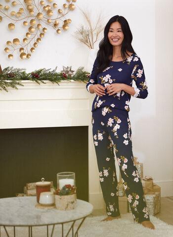 Ensemble pyjama à motif floral, Bleu,  automne 2021, fait au canada, tenues de nuit, ensemble de nuit, pyjama, t-shirt, haut, pantalon, manches longues, manches 3/4, dentelle, motif floral, imprimé, fleurs, style pull-on, modèle à enfiler