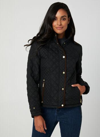 Weatherproof - Manteau matelassé , Noir, hi-res,  manteau, matelassé, manches longues, col montant, boutons-pression, zip, poches, automne hiver 2019