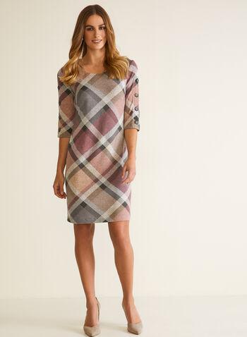 Robe droite en tricot à carreaux , Rose,  automne hiver 2020, robe, encolure arrondie, manches ¾, boutons, imprimé à carreaux