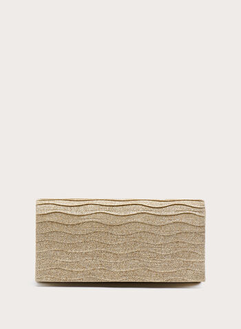 Ribbed Glitter Flap Clutch, Gold, hi-res