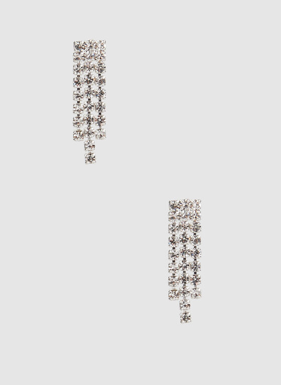 Rhinestone Necklace Earrings Set, Silver