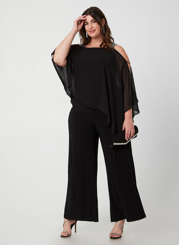 Wide Leg Jumpsuit, Black,  jumpsuit, wide leg, wide leg jumpsuit, chiffon, holiday, rhinestones, fall 2019, winter 2019