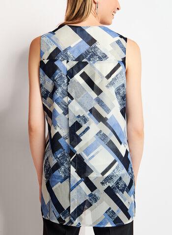 Sleeveless Geometric Print Tunic Top, , hi-res