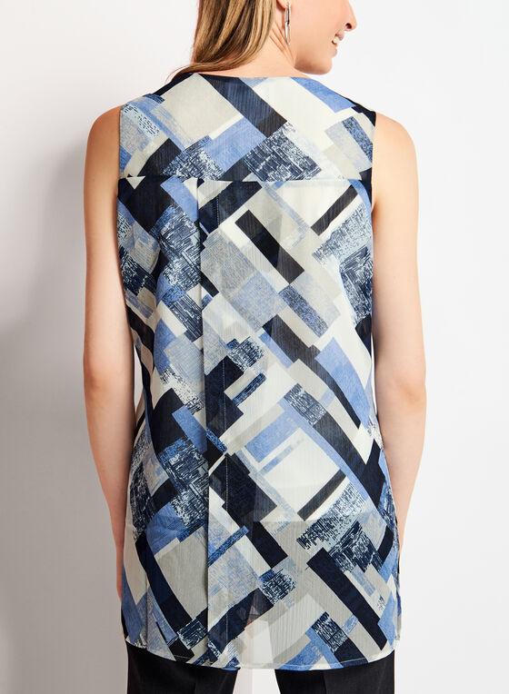 Sleeveless Geometric Print Tunic Top, Blue, hi-res