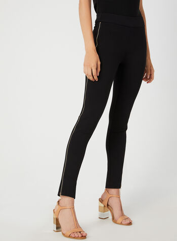 Zipper Trim Leggings, Black,  leggings, Ponte de Roma, slim leg, pull-on, elastic waist, zipper trim, fall 2019, winter 2019