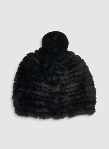 Fake Fur Hat, Black,  hat, knit, fake fur, pompom, soft, fall 2019, winter 2019