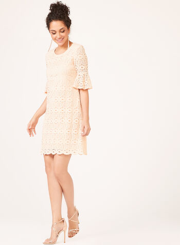 ¾ Bell Sleeve Lace Dress , Pink, hi-res