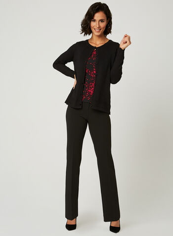 Long Sleeve Cardigan, Black, hi-res