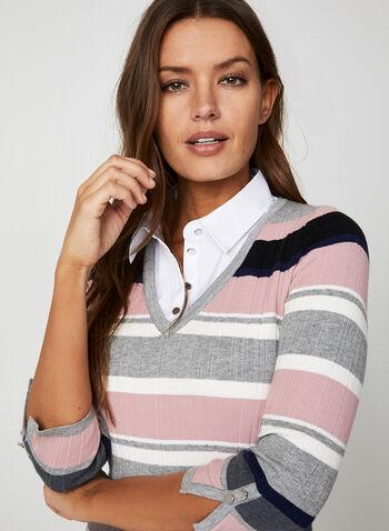 Stripe Print Fooler Sweater, Red,  knit, sweater, fooler, shirt collar, 3/4 sleeves, stripe print, fall 2019, winter 2019