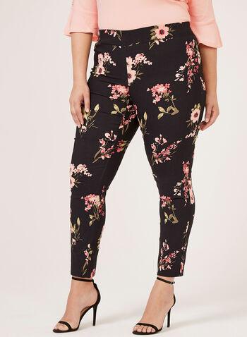 Pantalon pull-on fleuri à jambe étroite , Noir, hi-res