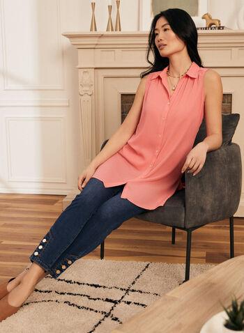 Shirt Collar Sleeveless Blouse, Orange,  top, blouse, shirt collar, sleeveless, button down, high low, spring summer 2021