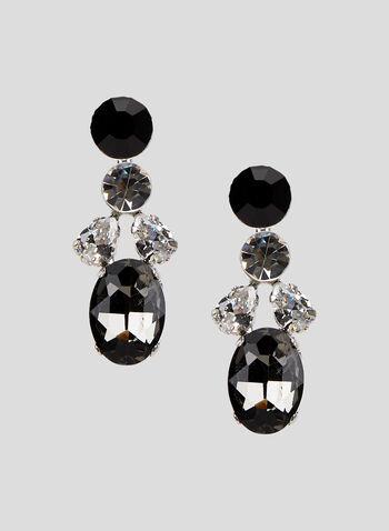 Crystal Dangle Earrings, Grey, hi-res