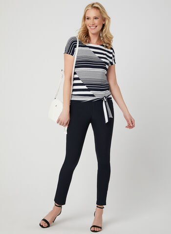 Stripe Print Top, Blue,  Sprint 2019, Made in Canada, short sleeves, Extended sleeves, stripe print, tie detail, Nautical style