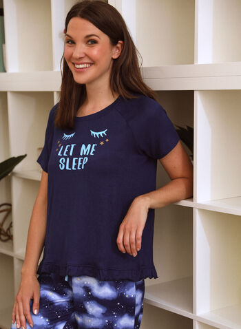Tee & Capri Pyjama Set, Blue,  spring summer 2021, pyjama, pj, set, sleepwear, tee, capris, capri, pull-on, elastic waist, short sleeve, soft, straight leg, fun, playful, star print, starry night, sleep, sleepy time, printed