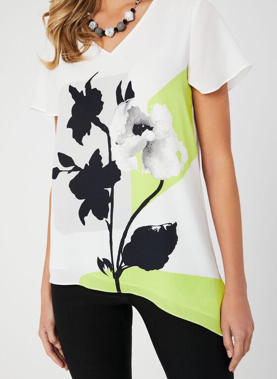 Floral Print Asymmetric Top, White