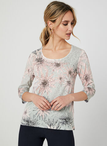 T-shirt floral et strass à détail crochet, Multi, hi-res